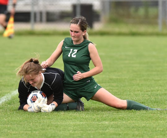 Novi Wildcat Lexi Whalen gets real close to Forest Hills Central goalie Alexa Lauer in this play near the net.