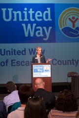 Laura Gilliam, president and CEO of United Way of Escambia County, announces the agencies selected to receive grants through the Community Investment Process during a press conference June 13.
