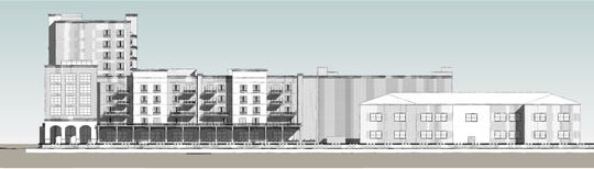 A conceptual rendering of what the Two Hundred Garden West development will look like if the school building is saved and turned into apartments.