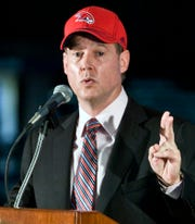 "In this Aug. 8, 2011, file photo, Alex Meruelo speaks during a news conference in Atlanta. In a statement released by his Meruelo Group on Thursday, Oct. 27, 2011, Meruelo says he has ""more than ample resources to purchase and operate the Hawks in a first-class manner."" Meruelo's statement followed reports the NBA could be awaiting confirmation of his financial standing. (AP Photo/W.A. Harewood, File)"