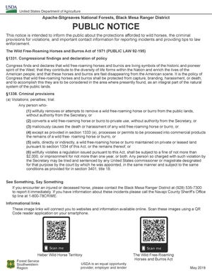Public notice, posted in the area by Apache-Sitgreaves National Forests, Black Ranger District.