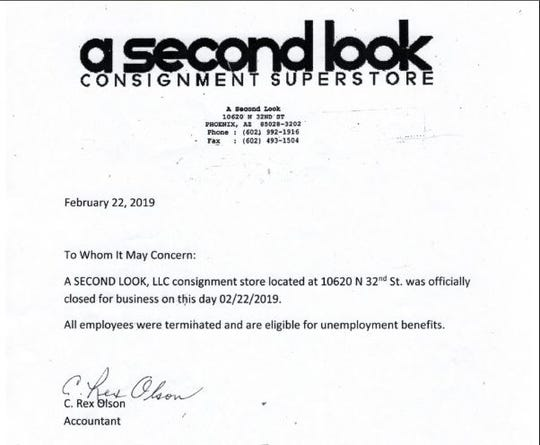 A letter announcing that consignment store A Second Look would close in Feb. 22, 2019.