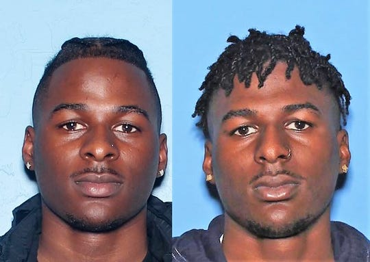 Mugshots for Terrell, left, and Durrell Whitefield, right
