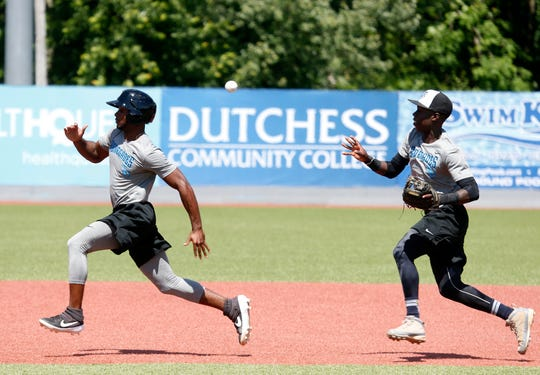 Hudson Valley Renegades infielder Luis Arcendo runs down outfielder, K.V. Edwards  during practice at Dutchess Stadium in Wappingers Falls on June 12, 2019.