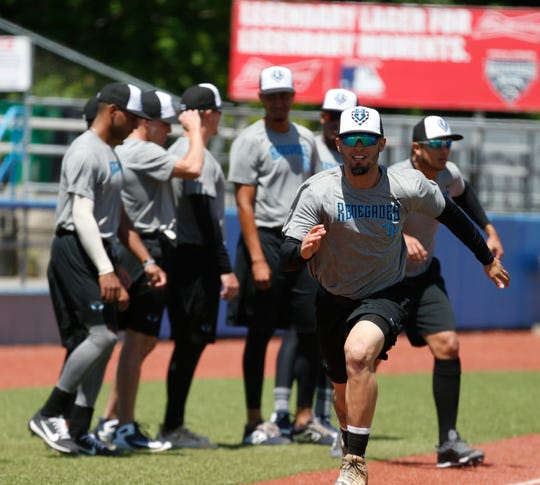 Hudson Valley Renegades infielder Christian Pedrosa running a drill during practice at Dutchess Stadium in Wappingers Falls on June 12, 2019.