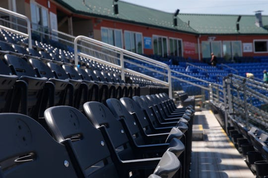 New upgraded seating at Dutchess Stadium in Wappingers Falls on June 12, 2019. The rows of seats in the foreground were formerly benches.