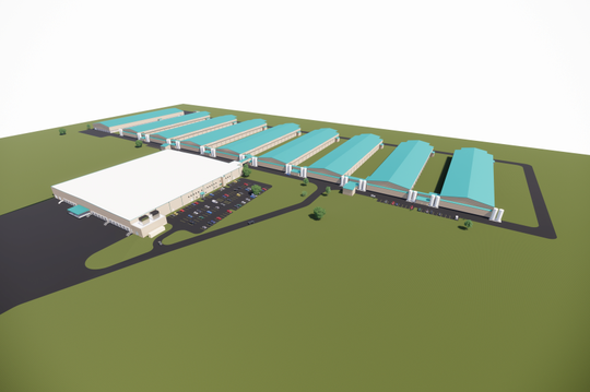 Herbruck's Poultry Farm's completed facility is set to have 8 buildings for housing hens, along with a separate building for drying the manure.
