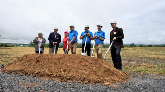 Senator Judy Ward, Representative Jesse Topper, Rose Plummer, Greg Herbruck, Stephen Herbruck, Herb Herbruck and Senator Doug Mastriano break ground at Mercersburg facility on Thursday.
