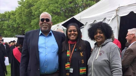 Shapri Generette, a 2007 William Penn graduate, is with her parents, Mac and Elaine Smallwood-Generette, on the day she received her master's of public administration from Harvard University, just a few weeks ago.