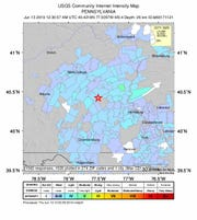 An intensity map for an earthquake that struck near Mifflintown, Pennsylvania, on June 12, 2019.