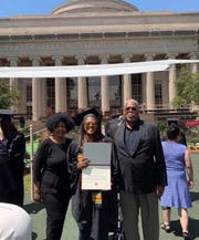 Shapri Generette (middle) celebrated her second master's degree this year, this one was an MBA from the Massachusetts Institute of Technology. Her mother, Elaine Smallwood-Generette, and father, Mac Generette, were at her side.