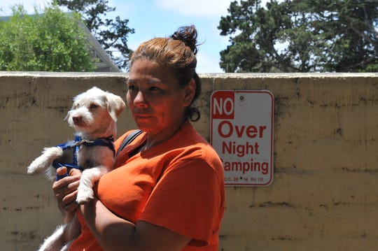 """Irene Chavez, 46, applied for MidPen housing but doesn't know where to go when the city of Salinas does """"strict enforcement"""" of its law prohibiting overnight camping in parks and recreation areas."""