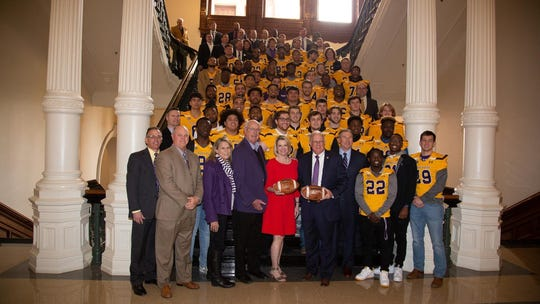 The University of Mary Hardin-Baylor football team visited the Texas Capitol following their 2018 NCAA Division III national championship.