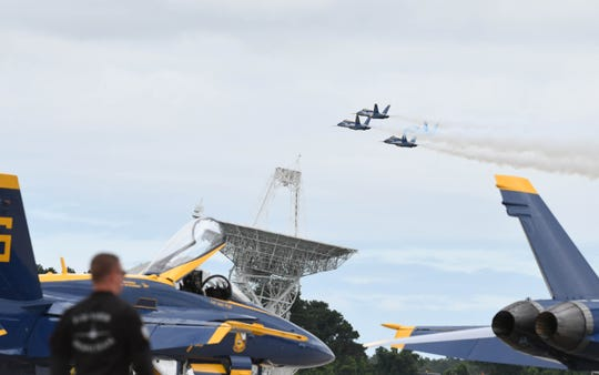 The Blue Angels take from Wallops Island, Va. on Thursday, June 13, 2019 as they practice in preparation for the Ocean City Air Show.