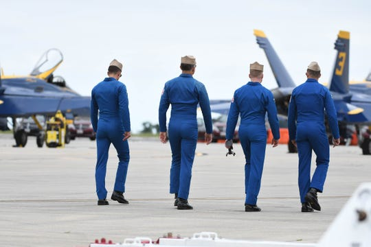 The Blue Angels prepare on Thursday, June 13, 2019 in Wallops Island, Va. before they take flight during the Ocean City Air Show.