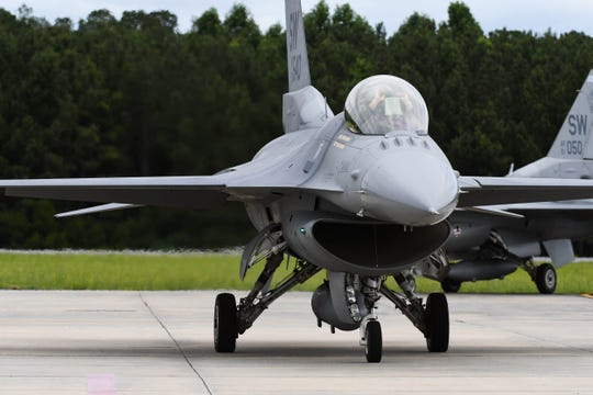The F-16 Flight Demo Team lands in Wallops Island, Va. on Thursday, June 13, 2019 in preparation for the Ocean City Air Show.
