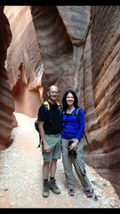 Dale Sargent with wife Ann during a hike  into the slot canyons in Arizona.
