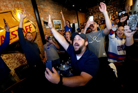 St. Louis Blues fans celebrate at Falstaff's Local as the Blues beat the Boston Bruins to win the Stanley Cup on Wednesday, June 12, 2019.