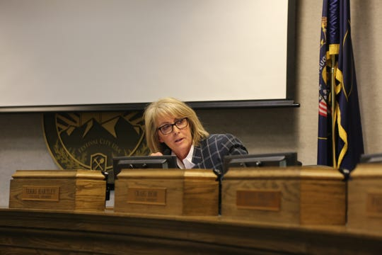 Councilwoman Terri Hartley speaks Wednesday regarding a proposal to turn a city water tank into a monument.