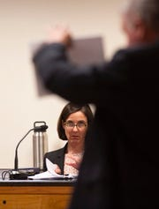 Lori Butts, a lawyer and forensic psychologist, is questioned by Jeff Hendriks, assistant state attorney, during a hearing in the Austin Harrouff case Thursday, June 13, 2019, at the Martin County Courthouse in Stuart. Lawyers discussed the M'Naghten rule, the state's criminal insanity test, though Judge Sherwood Bauer Jr. did not make a ruling.