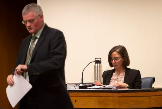 Lori Butts, a lawyer and forensic psychologist, is questioned by Jeff Hendriks, assistant state attorney, during a hearing in the Austin Harrouff case Thursday, June 13, 2019, at the Martin County Courthouse in Stuart. Lawyers discussed the M'Naghten rule, the state's criminal insanity test, though Martin County Circuit Judge Sherwood Bauer, Jr. did not make a ruling.