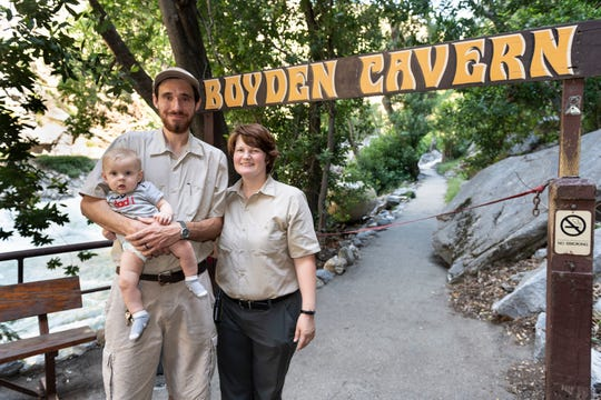 Maria and Daniel Baker met as guides in Boyden Cavern years ago and now operate the tourist attraction as a married couple with son Calvin, 7 months. Boyden Cavern reopened after closing in August of 2015 due to damage from wildland fire in the area.