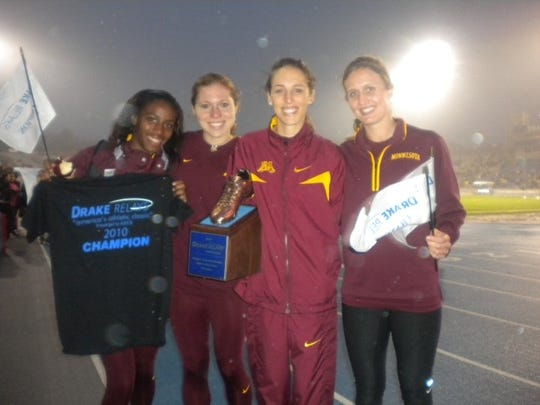 Jayme Dittmar (second from left) ran at the Drake Relays for the University of Minnesota with Gabriele Grunewald, second from right) and Alena Brooks (left) and Nikki Paradis (right).