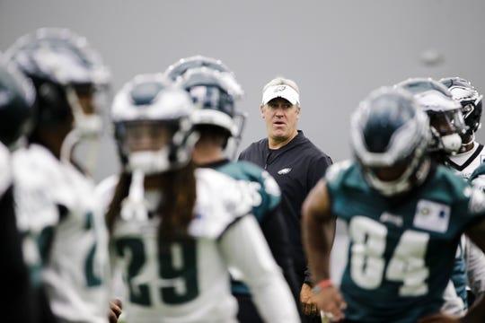 Eagles head coach Doug Pederson looks on at the team's practice facility Thursday.