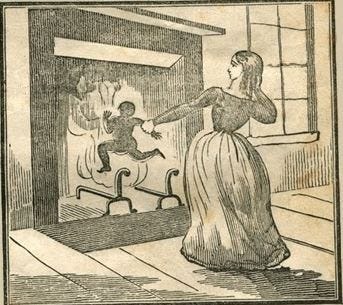 An 1800s illustration depicted Patty Cannon of Sussex County, of whom no historic images exist, killing one of two or three children she was accused of murdering, along with a white slave trader.