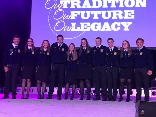 Meet the new Wisconsin FFA Officer team (from left) Jared Mack, Lindsey Augustine, Lydia Williams, Ryan Erickson, Michelle Stangler, Grace Morrissey, Curtis Weltzien, Joseph Schlies, Emily Sheehan, and Daniel Clark.