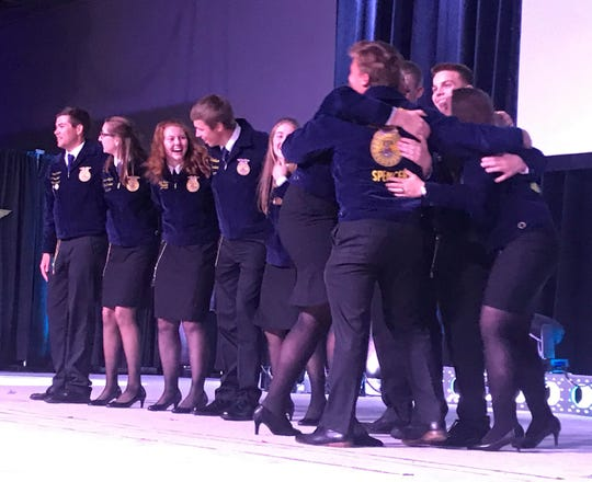 Smiles and hugs abound as members of the 2019-20 Wisconsin FFA Officer team are announced.