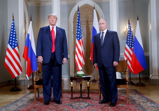 Presidents Donald Trump and Vladimir Putin of Russia in Helsinki in July, 2018.