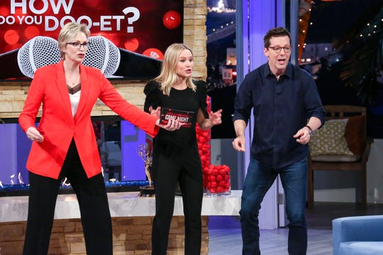 """Jane Lynch, Kristen Bell and Sean Hayes  on """"Hollywood Game Night."""""""