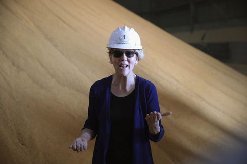 Elizabeth Warren visits the Big River United Energy ethanol facility during a campaign stop on June 10, 2019 in Dyersville, Iowa.