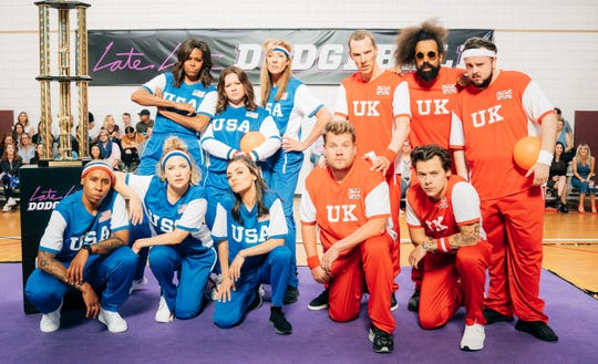 Former First Lady Michelle Obama, top left, captains the U.S. team and James Corden, kneeling second from right, leads a U.K. squad in an all-star dodgeball game on CBS' 'The Late Late Show.'