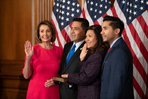 {January 3, 2019} 3:17:01 PM -- Washington, VA, U.S.A  -- Rep. Norma Torres, D-Calif., is ceremonially sworn in to Congress by House Speaker Nancy Pelosi (D, CA) on January 3, 2019 in Washington D.C.  --    Photo by Hannah Gaber, USA TODAY staff ORG XMIT:  HG 137740 Swearing in of 116th Congress 1/3/2019 (Via OlyDrop)