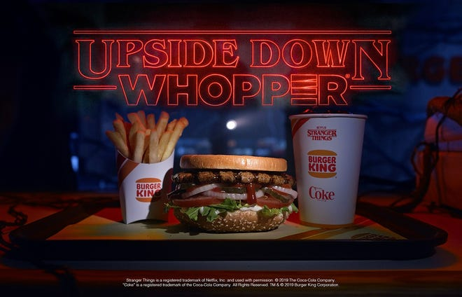 A promotion for the Upside Down Whopper, part of a tie-in with the hit Netflix series Stranger Things.