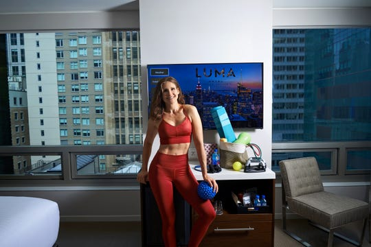 "LUMA Hotel Times Square in New York offers guests a ""GYMbag"" that features a yoga mat and block, bionic bar, ergonomic push-up bar, resistance bands, ab wheel and muscle relaxation balls."