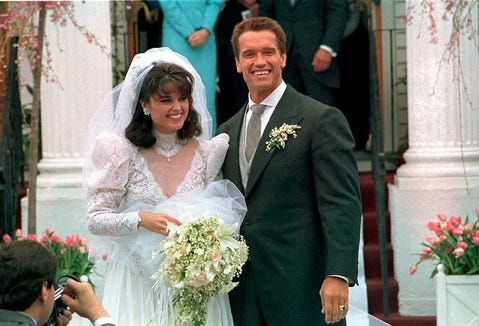 Maria Shriver and Arnold Schwarzenegger got married on April 25, 1986. That veil's been around for more than 30 years.