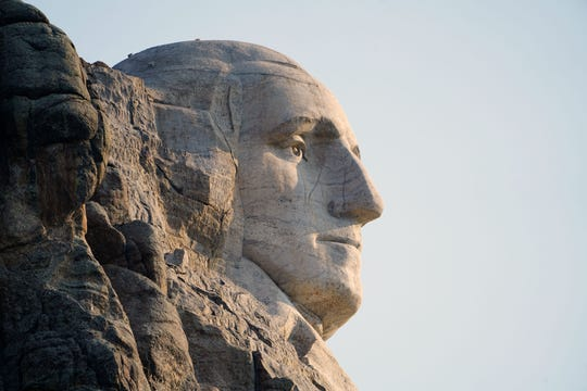 George Washington's likeness on Mount Rushmore.