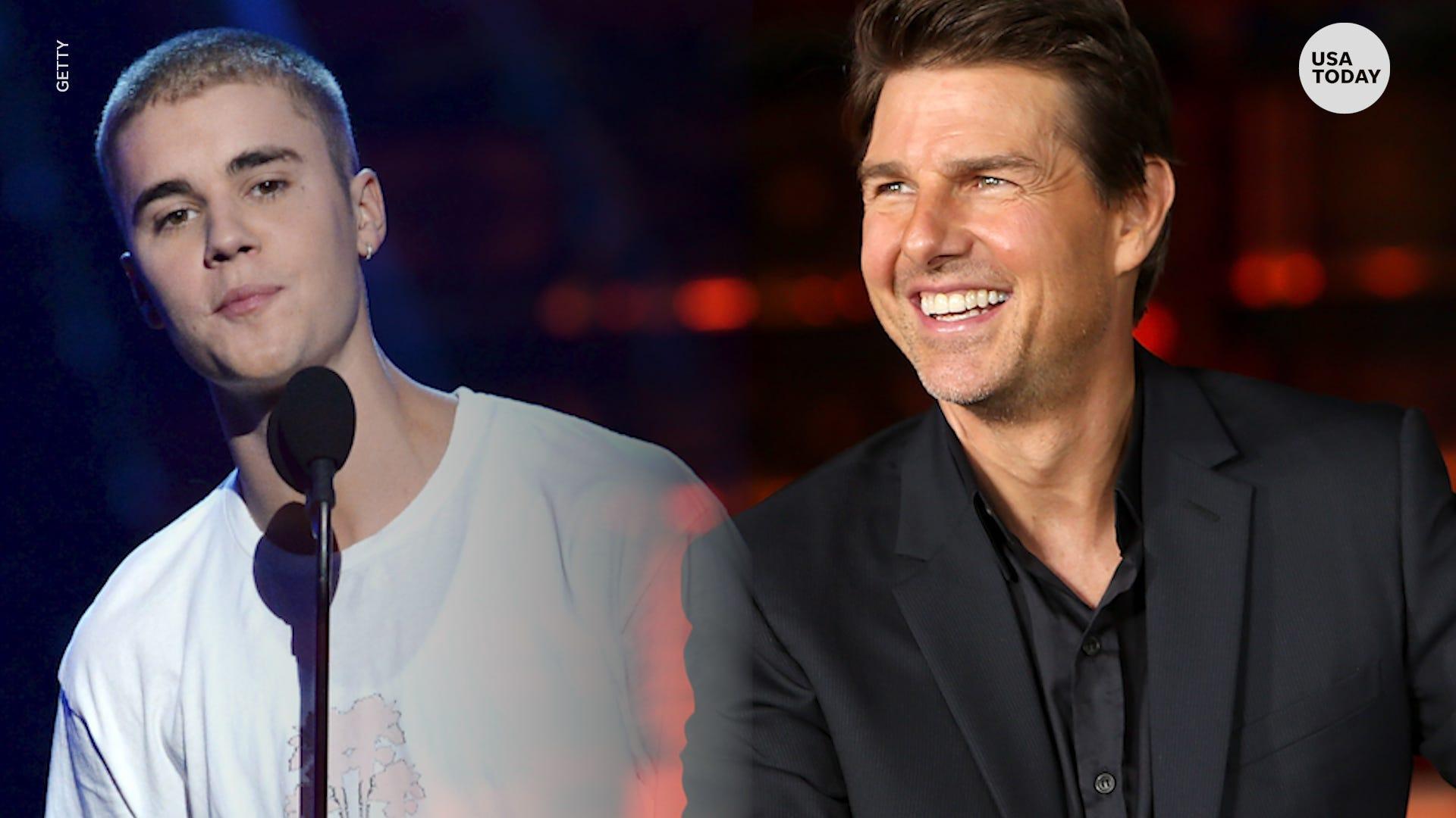 Kết quả hình ảnh cho justin bieber vs Tom Cruise