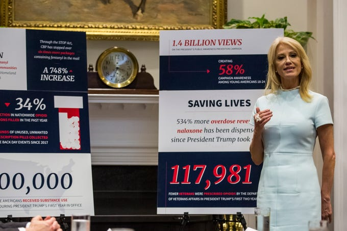 White House Counselor Kellyanne Conway speaks during a round table about the opioid crisis, at the White House in Washington, DC on June 12, 2019.