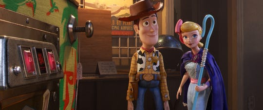 "Woody, voiced by Tom Hanks, and Bo Peep, voiced by Annie Potts, in a scene from Disney and Pixar's ""Toy Story 4."""