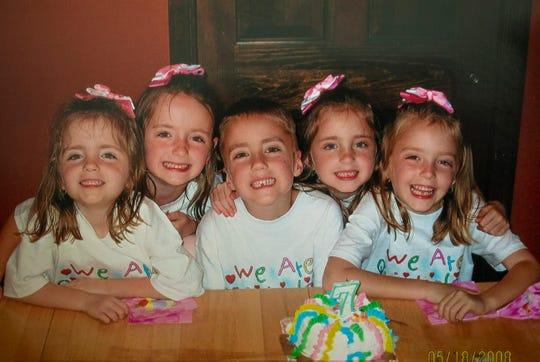 The Keogh quints celebrating their seventh birthdays.
