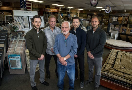 Carpet Yard, a 32-year old, family-owned provider of carpet, area rugs, wood flooring, and other floor coverings that's based in Freehold. Left to right are Justin Winowski, Tom Higgins, Conrad Winowski, Jason Winoski, and CJ Winowski. 