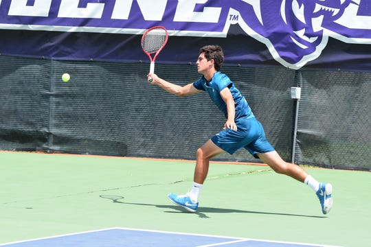 Stafford's Jaycer Lyeons reaches for a shot during the Boys 18 singles semifinal of the USTA Texas Slam at ACU on June 14, 2019. Lyeons outlasted Zachery Foster 6-3, 6-7(1), 6-4 to reach Saturday's final against Avery Zavala.
