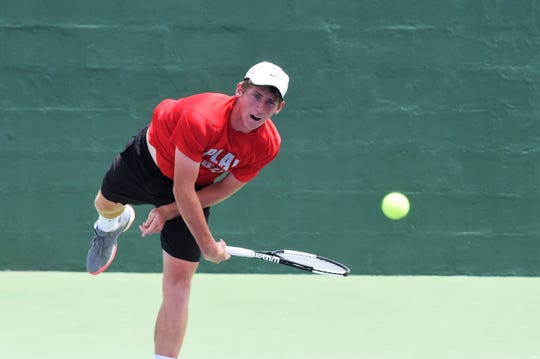 Amarillo's Avery Zavala competes during the Boys 18 singles semifinal of the USTA Texas Slam at ACU on Friday, June 14, 2019. Zavala beat Braeden Ho 6-4, 6-2 to reach Saturday's championship match against Jaycer Lyeons.