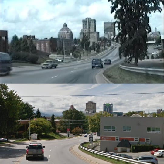 Views of Asheville City Hall, the Buncombe County Courthouse and the BB&T Building, now known as The Arras, taken from a video shot by Lynchburg, Virginia resident Kipp Teague in July 1989, and a Google Street View car in October 2018.