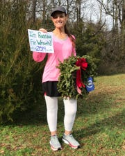 Cathy Powers at the beginning of her Running Fir Wreaths journey.