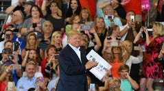 President Trump at a campaign-style rally in Melbourne, Florida in February 2017, a month after his inauguration.